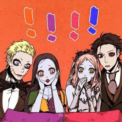 Fuck yeah I love Tim burton and Naruto and Sasuke look so fucking cute as Jack Skellington and Victor Van Dort XD Hinata and Sakura look pretty kawaii too :3