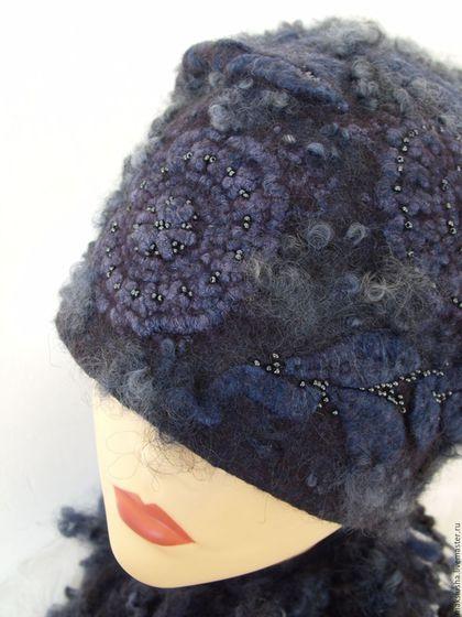 Купить или заказать Шапка женская валяная Зимняя ночь в интернет-магазине на Ярмарке Мастеров. Теплая шапка из тонкого мериноса, кружева, кудрей английской овечки, волокон вискозы. Цвет сложный, темно-темно-серый с синим. Кудри и кружево окрашены вручную. Объемный декор подчеркнут бисером. На вашем мониторе цвет может отличаться. Шапка приятная на ощупь, совсем не колется. Как всегда: отворот внутри, с изнанки волокна вискозы. У манекена маленький размер. Еще шапочки в моем магазине www.