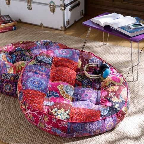 high end sunglasses wholesale Kantha Cloth Floor Pillow  Warm   PBteen  I should make one of these