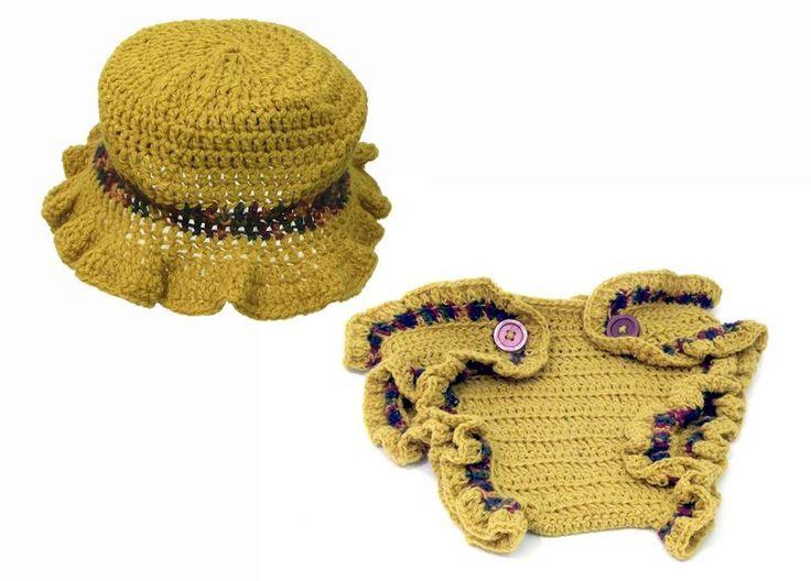 Hats – HONEY HONEY HAT AND DIAPER COVER 6-12m – a unique product by betulek on DaWanda