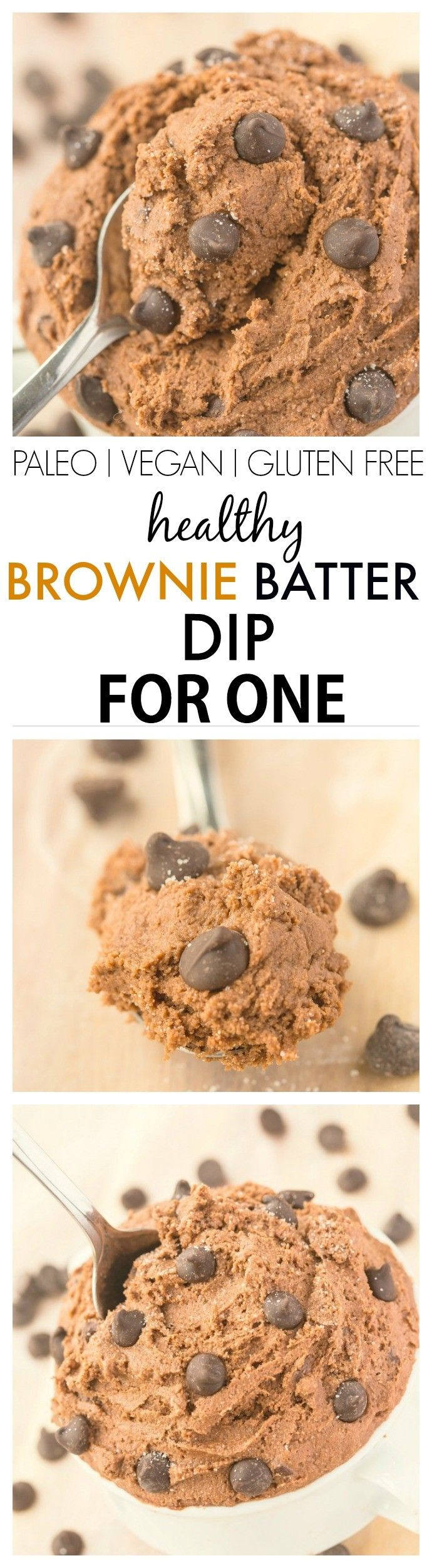 Healthy Brownie Batter Dip for ONE- Smooth, creamy and ready in five minutes, there is NO butter, white flour, sugar or oil but doesn't taste 'healthy'! {vegan, gluten free, paleo, high protein recipe}-