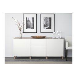 BESTÅ Combinaison rangement tiroirs - motif noyer teinté gris/Lappviken blanc, glissière tiroir, fermeture silence - IKEA