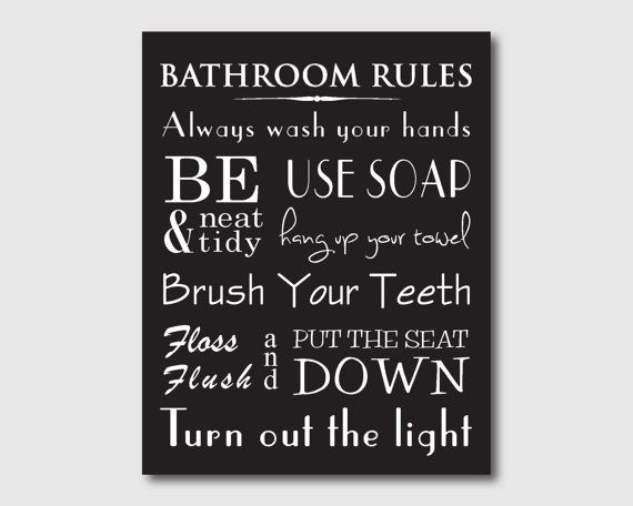 Bathroom wall art word art print bathroom rules for Bathroom decor rules