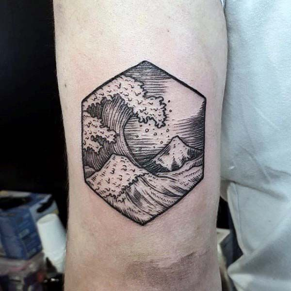 Small Tricep Tattoo Of Woodcut Ocean Waves For Men
