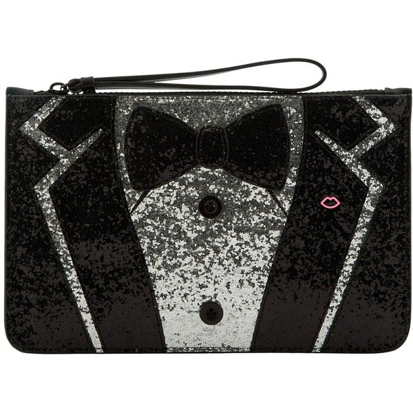 Lulu Guiness Tux Grace Medium Pouch ($125) ❤ liked on Polyvore featuring bags, handbags, clutches, evening clutches, evening purses clutches, man pouch bag, evening handbags and glitter clutches