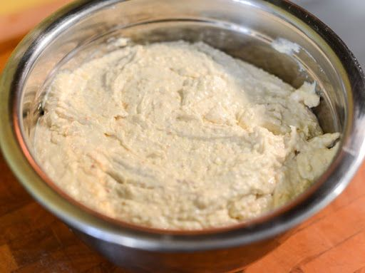 Basic Mexican Tamale Dough With Fresh Masa, Lard, Baking Powder, Kosher Salt, Homemade Chicken Stock