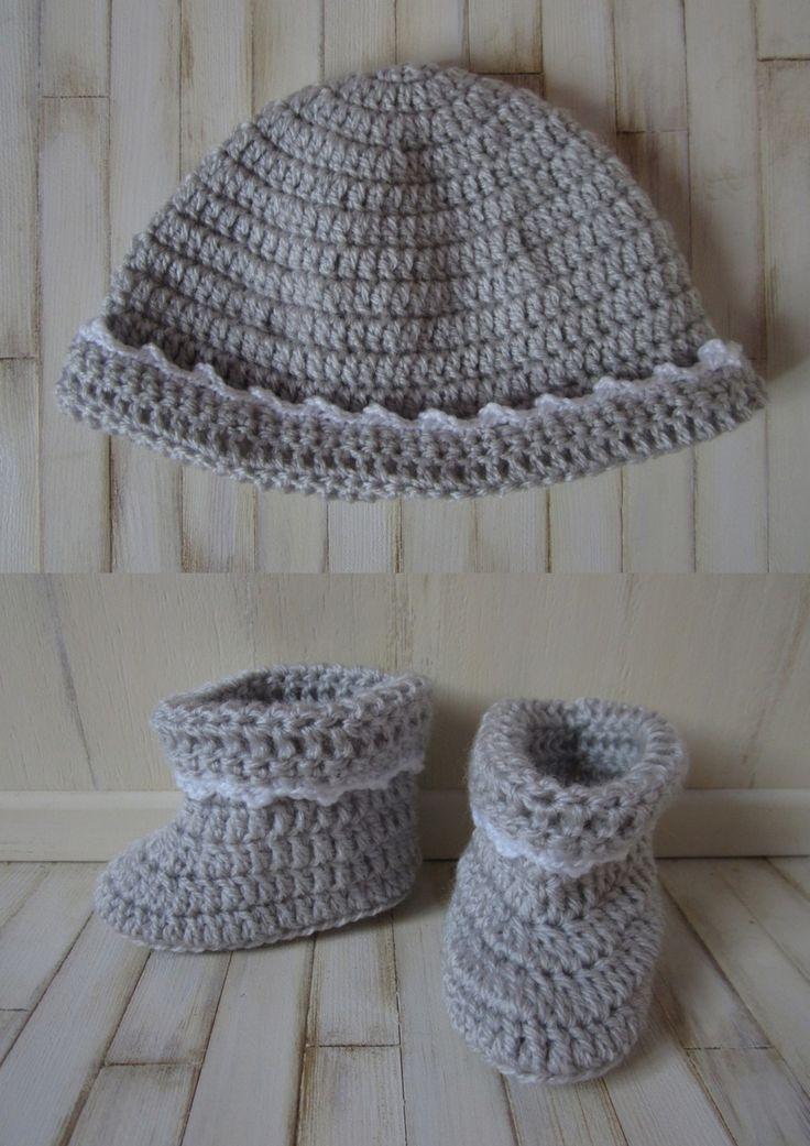 Ensemble Bonnet et Chaussons Bébé au crochet : Mode Bébé par atelier-crochet