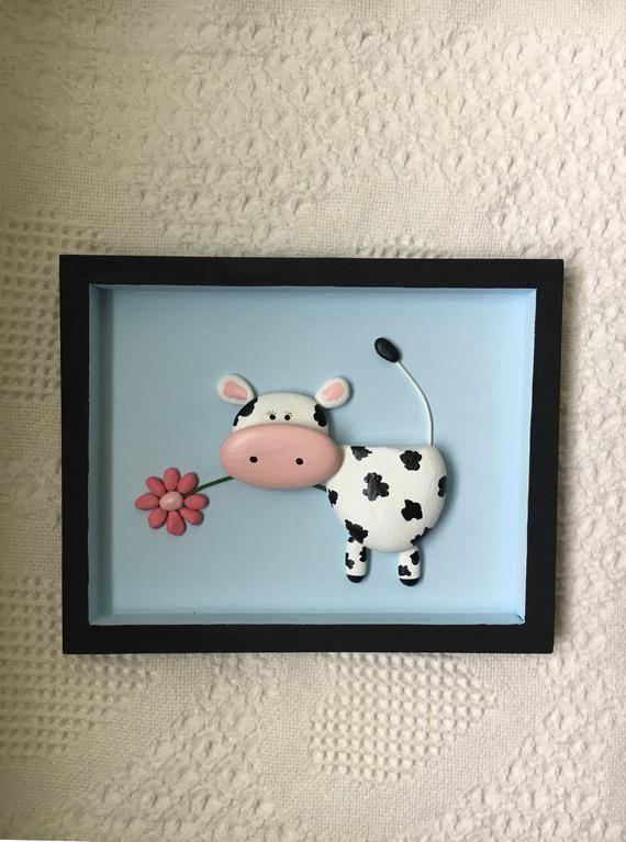 unglaublich Kuh Dekor, Kuh Kunst, Kuh Kiesel Kunst gerahmt, Kinderzimmer Dekor, Kinderzimmer Wandkunst, Baby-Dusche-Geschenk, aus