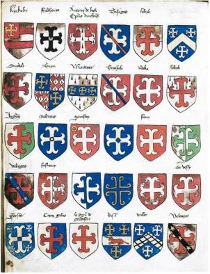 Illustrated left is a page from part III of Prince Arthur's Book, an early Tudor manuscript at the College of Arms. This section of the volume comprises an ordinary of crosses, part of an important ordinary compiled under Thomas Wriothesley, Garter King of Arms between 1505 and 1534, now dispersed.
