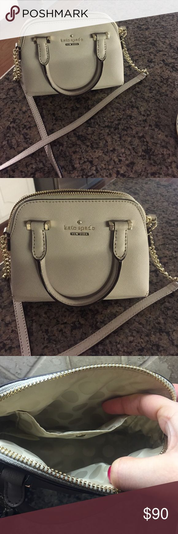 Kate Spade Cedar Street Mini Maise Purse - Cream Love this neutral purse, just didn't carry it enough. Bought from Kate Spade store at the mall directly, authentic.  Only carried once or twice. Fits quite a bit even though it's a mini. Any questions please ask! kate spade Bags Crossbody Bags