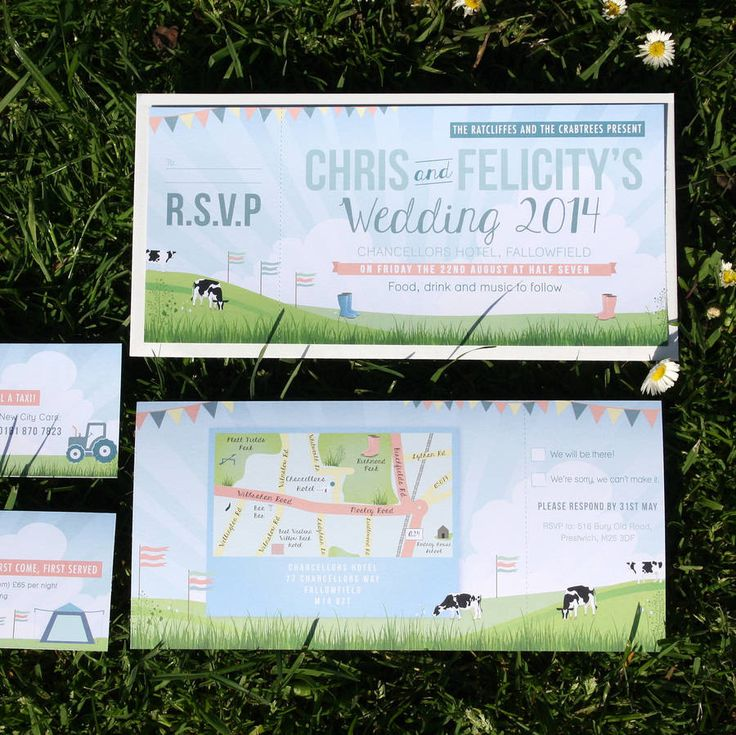 Festival Themed Ticket Wedding Invitation - Glastonbury proposal - wedding in a field - cows - tear off RSVP. Personalise now on Not on the High Street and buy http://www.notonthehighstreet.com/rodocreative/product/festival-themed-wedding-invitation