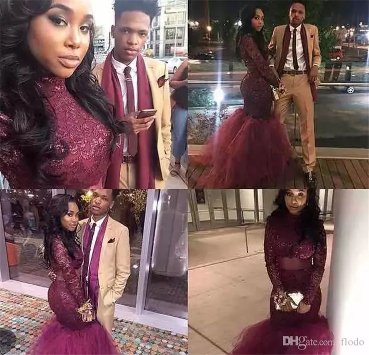 2017 Burgundy Mermaid Prom Dresses Dubai Illusion Long Sleeves Black Girl Evening Gowns High Neck Red Carpet Celebrity Dresses New Arrival Cheap Prom Dress Websites Cheap Prom Dresses Canada From Flodo, $123.46| Dhgate.Com