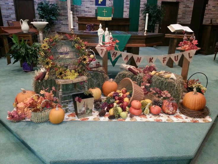 Church sanctuary decorated for Thanksgiving 2013.
