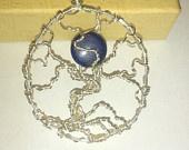 Lapiz Lazuli Moon Tree Off Life Gemstone Wire Wrap Necklace Handmade Silver Plated Chain