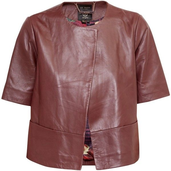 Ted Baker Short Sleeve Leather Jacket , Oxblood ($325) ❤ liked on Polyvore featuring outerwear, jackets, oxblood, red leather jackets, summer leather jacket, short leather jacket, 100 leather jacket and short-sleeve jackets