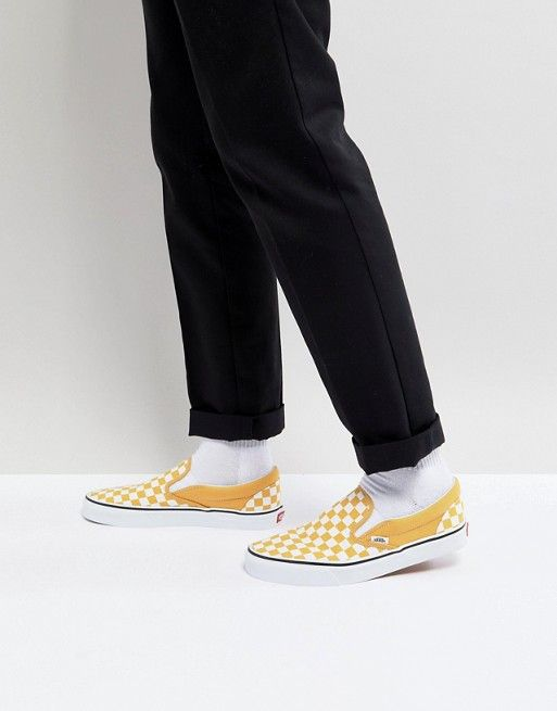 312d6f3642 Vans Classic Checkerboard Slip-Ons In Yellow VA38F7QCP