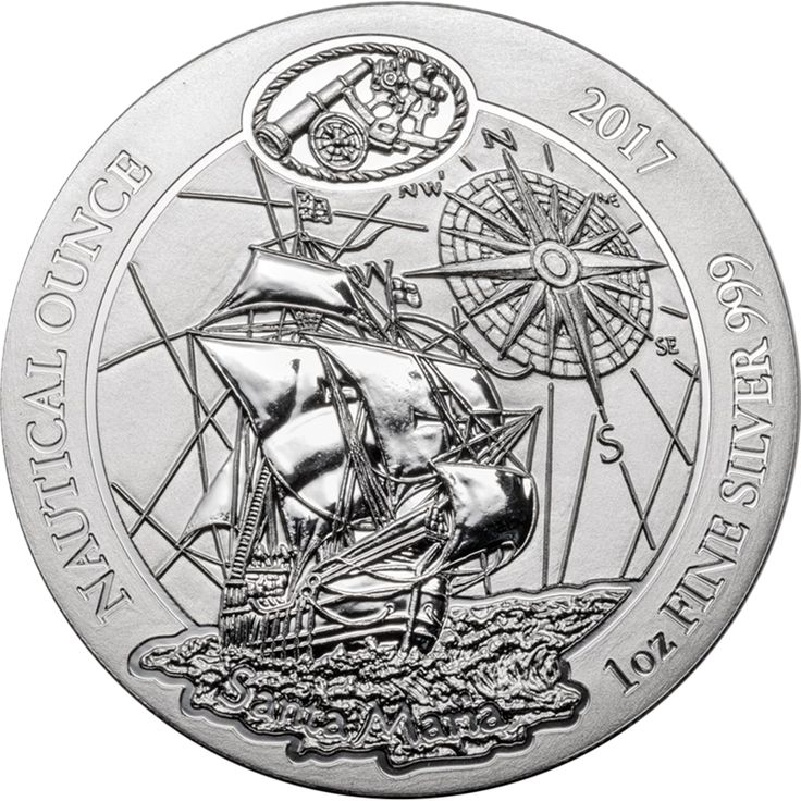 The 2017 Rwanda Santa Maria 1oz Silver Nautical Ounce Silver Coin is the first release of the Nautical Ounce series, commemorating the 525th anniversary of the discovery of America. This coin is the first release of the Nautical Ounce series.  The obverse of each coin features the Santa Maria with a compass in the background. The inscriptions 'Nautical Ounce', '2017', and the purity feature along the rim, along with the image of nautical instruments.  The reverse of the coin bears the…