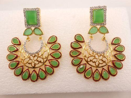 Women-Bollywood-Fashion-Earring-925-Sterling-Silver-Crystal-Rhinestone-studded
