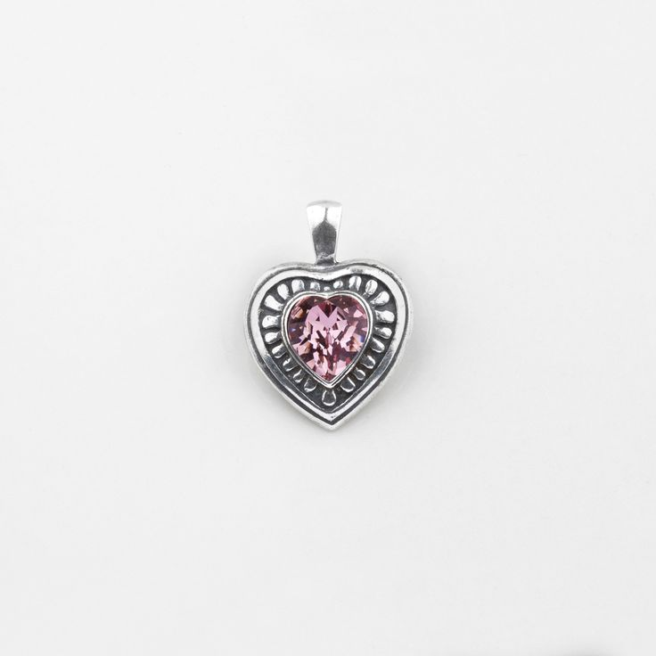 #miglio EN1173 #Antique #pink #Swarovski #crystal heart #pendant with a patterned burnished #silver edge - www.miglio.com