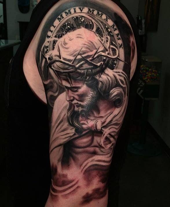 0510fbb6665b0 Discover ideas about Faith Tatuagem. Jesus Tattoo On Man Left Half Sleeve  by Daniel Rocha