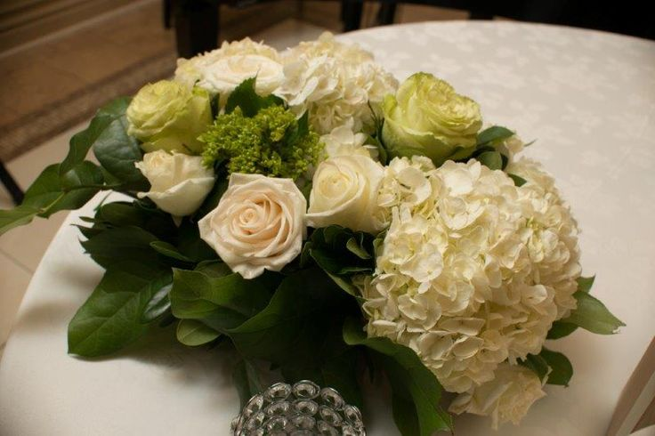 Bridal bouquet - White and Green Roses with Hydrangeas and greenery http://www.fusion-events.ca/
