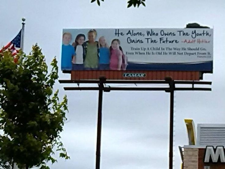 WTF? Youth Church Group Takes Down Hitler Quote Billboard