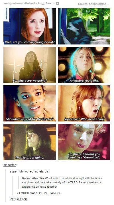 """If we could not have Clara because she's annoying, and maybe have Rose guest when the ladies get stuck in a parallel universe one time (""""oh look at your little baby!"""" and Donna sassing off with the Human!Ten) I would be SO DOWN for this"""
