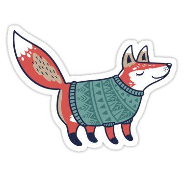 Sticker mit Fuchs in Strick zu Weihnachten   Winter   Schreibwaren   Illustration   Zeichnung