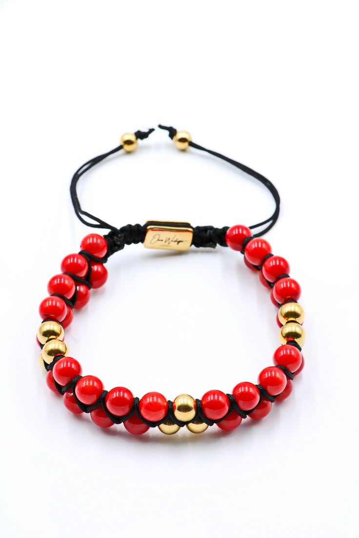 Red Coral Double Beaded Bracelet 6mm