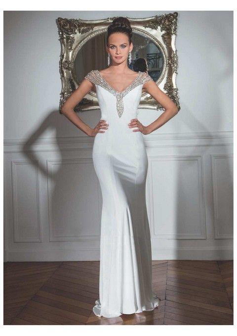 Luxusné spoločenské šaty svadobný salón valery, jednoduché spoločenské šaty, spoločenské šaty krajkové, úzke spoločenské šaty, biele spoločenské šaty