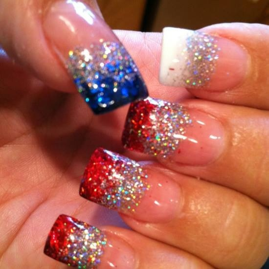 Sparkly Red White and Blue Nails! Wonder if there is a way to make this into a whole nail all three colors...?