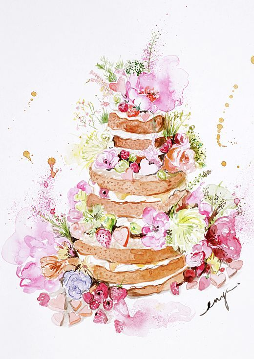 ARTFINDER: Naked cake by Enya Todd - Free form naked cake with lots of flowers and candies.