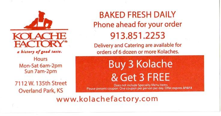 Kolache Factory  Overland Park, KS  Buy 3 , Get 3 FREE