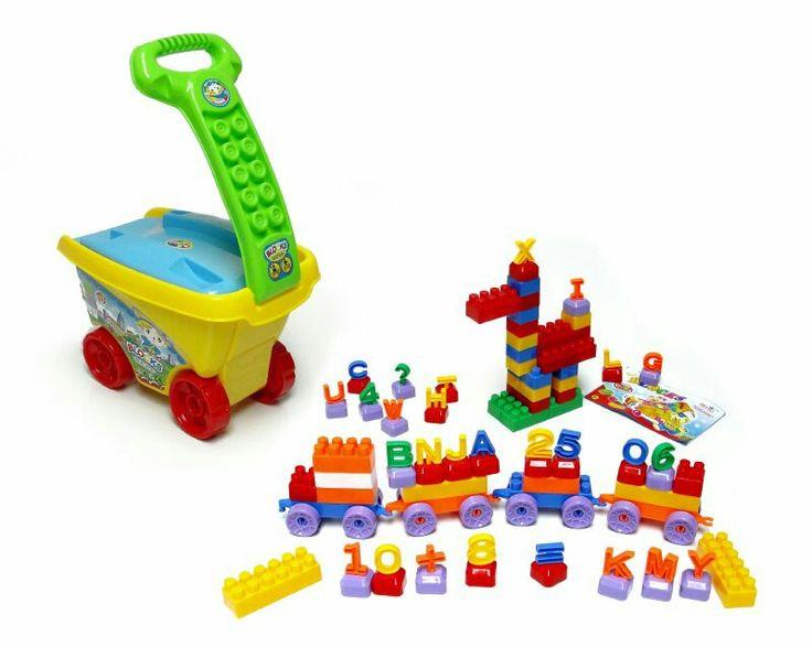 Carro con set de bloques, 101 piezas, ruedas, números,  letras,  para formar torres y lo que se les imagine a los niňos.