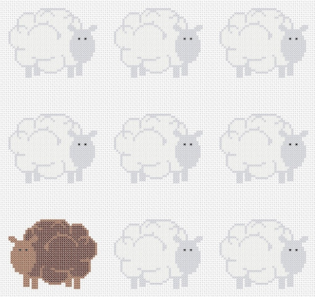 Free sheepish cross stitch chart at Hancock's House of Happy