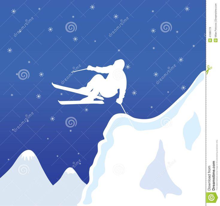 Photo à propos Homme blanc de ski dans le vecteur d'hiver - 47085773