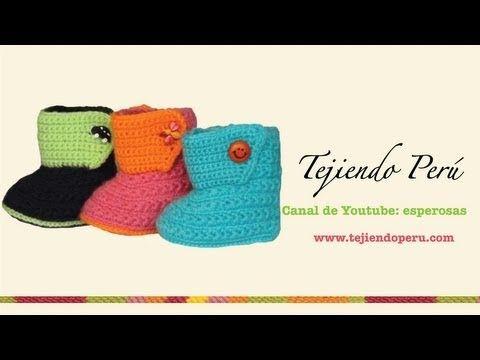 Botitas tejidas en crochet para bebe de 0 a 3 meses (Parte 1: suela) - Tejiendo Perú - YouTube