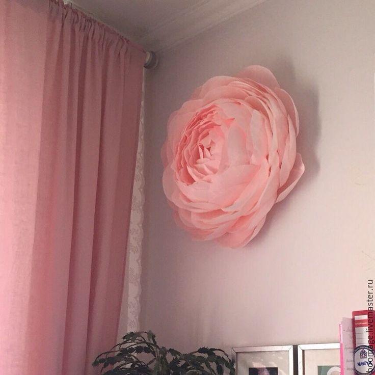 Купить Настенный цветок из гофрированной бумаги - цветы из бумаги, настенный декор, бумажный декор