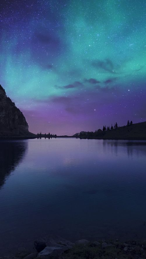 Lake, Water, Sky, Purple, Green, Galaxy,