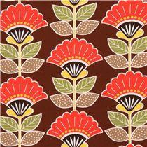 Tissu laminé marron foncé avec des fleurs multicolores, importé du Japon