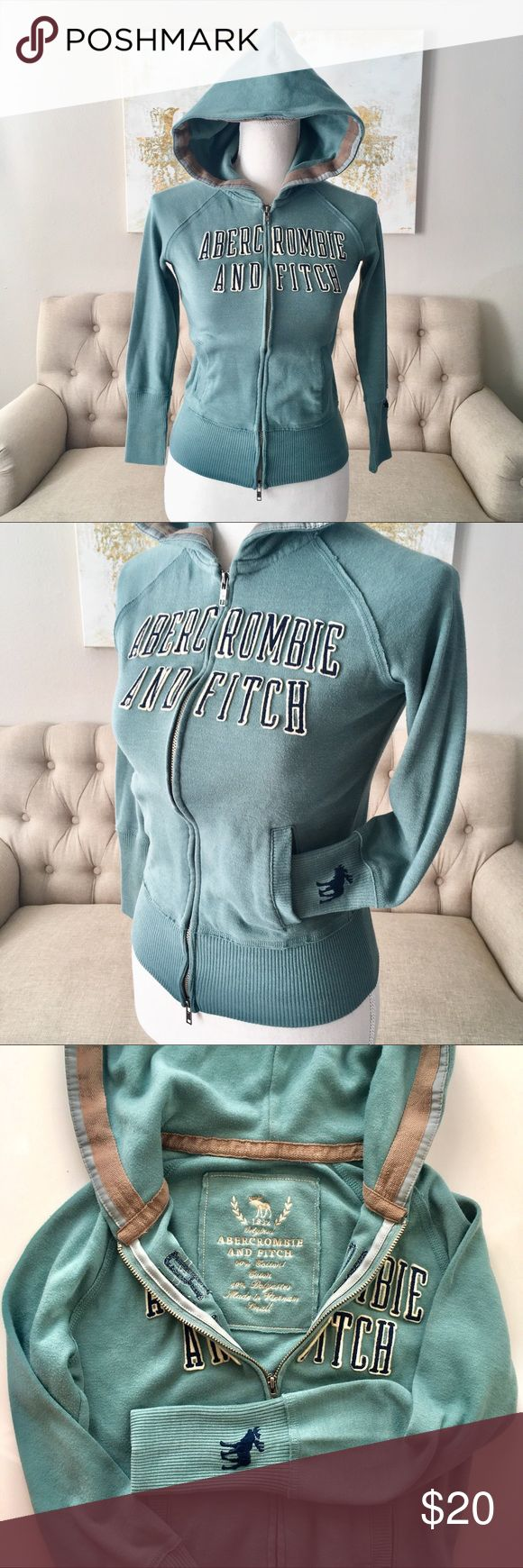 Abercrombie and Fitch Teal Hoodie Abercrombie and Fitch hoodie with double zipper. Like new condition, only used a few times. It's very cute. Just wish it wasnt too small for me anymore. Size small. Abercrombie & Fitch Jackets & Coats