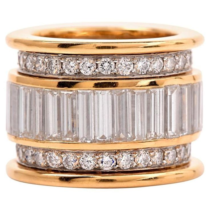 Round Baguette Diamond Wide Gold Platinum Eternity Band Ring    From a unique collection of vintage band rings at https://www.1stdibs.com/jewelry/rings/band-rings/