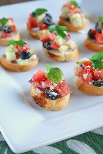 Greek Salad Bruschetta - combines two of my favorite things, Greek Salad and Bread! With lots of Feta, this could be dinner.