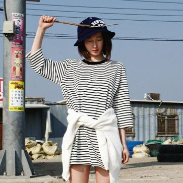 [Stripe Cotton Dress: White] A #dress featuring a #striped print. Round neckline. 3/4 sleeves. #stripedress #stripetee #stripetop #koreanfashion #koreandress #asianfashion #casualfashion