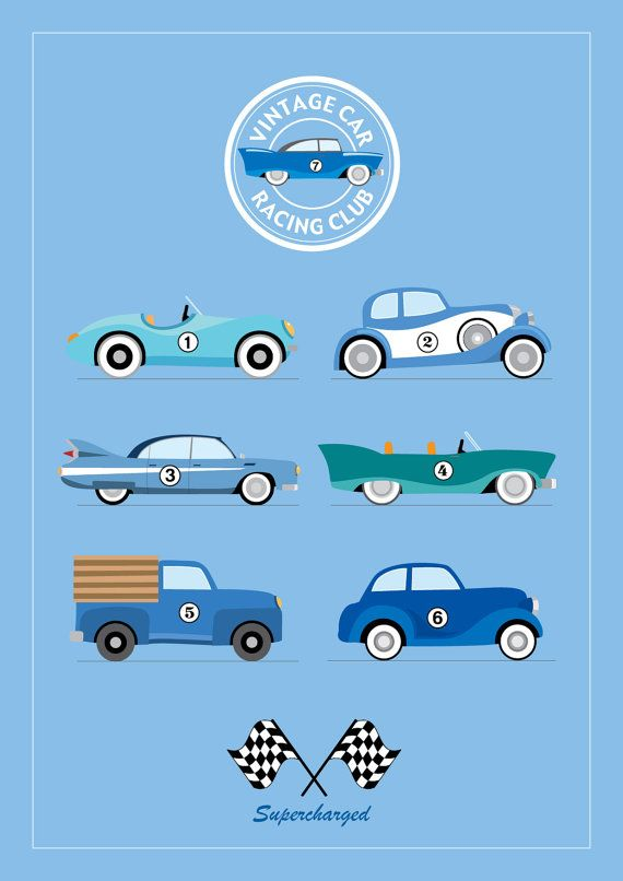 Vintage Car Racing Club A4 Print by MylesArtprints on Etsy, £9.99
