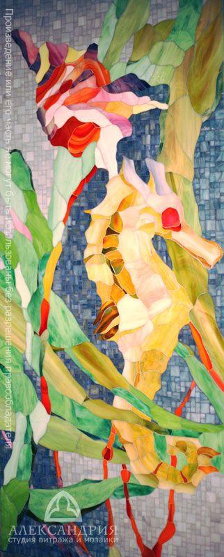 """Мозаичное панно """"Подводный мир», ванная комната, частный дом, Хельсинки"""