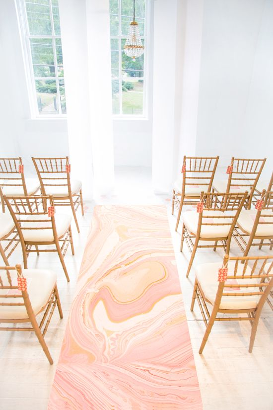 Artful and Sweet Gallery Wedding, Marbleized aisle runner, Coral and Blush Wedding, Minted
