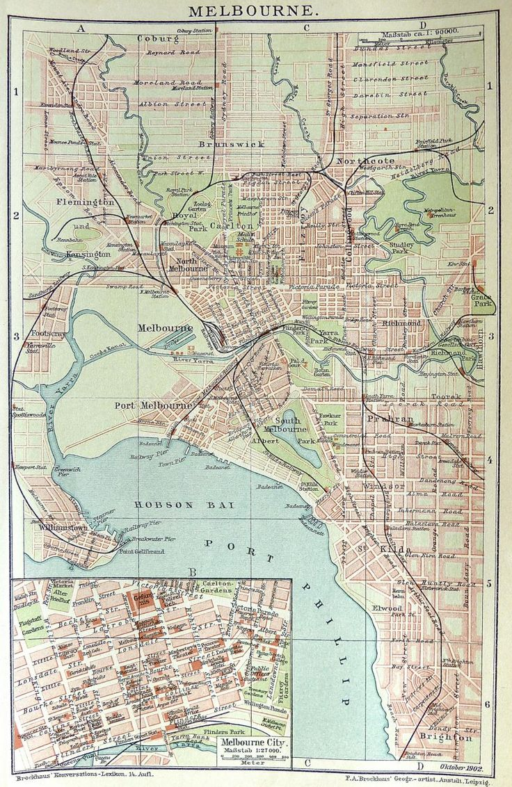 Melbourne street map c.1890