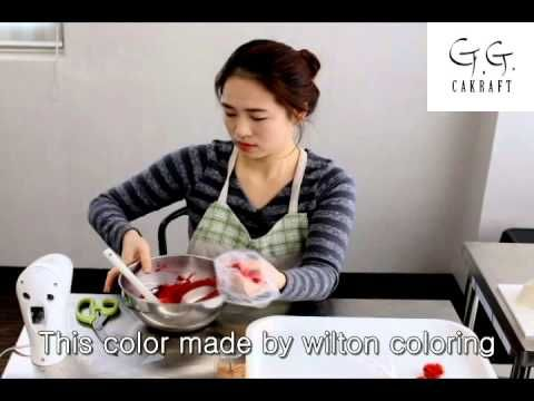 Flower cake by G.G.cakraft. How to make Red rose #9 - YouTube