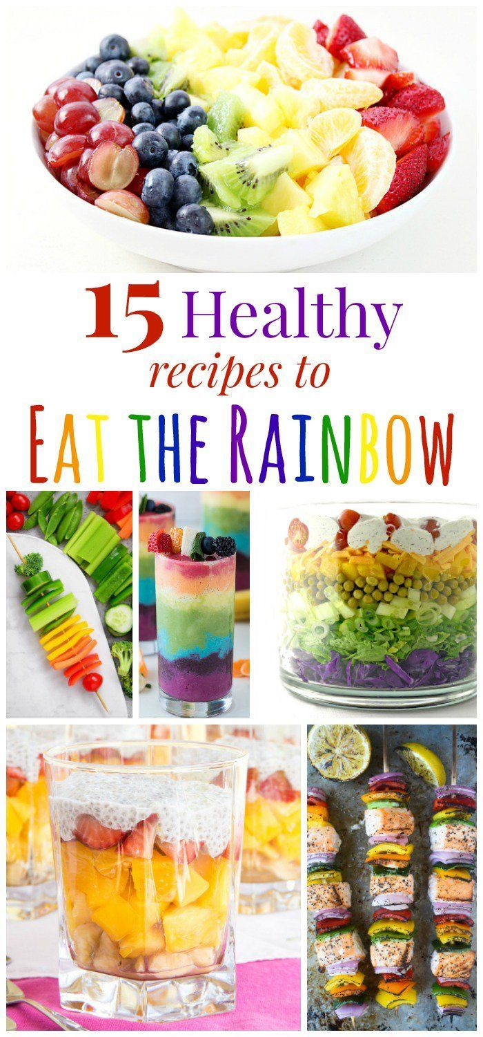 15 Healthy Recipes to Eat the Rainbow - fruits, vegetables, and more make these meals and snacks fun and nutritious!